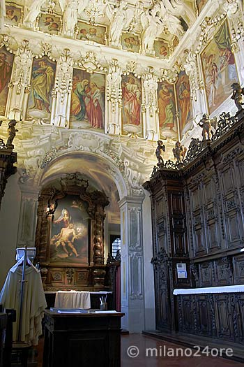 Sacristy altar painting of Legnanino and cupboards