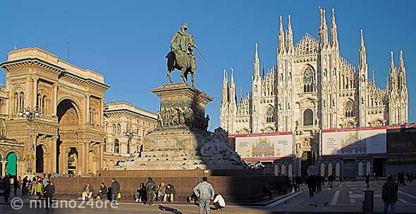 Piazza Duomo with Milan Cathedral and equestrian statue of Vittorio Emanuele II