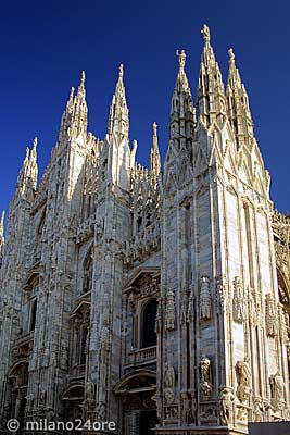 Cathedral Milano Duomo facade in white marble
