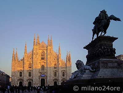 Duomo of Milan with the equestrian statue on the Duomo square