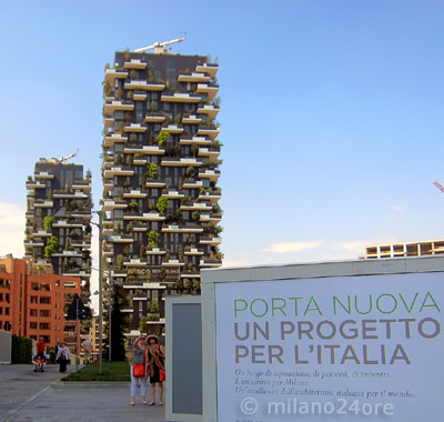 "skyscrapers ""bosco verticale"" – two new residential buildings covered vertically by trees"