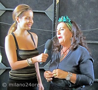 Fashion designer Angela Missoni after the fashion show at the Fabbrica del Vapore